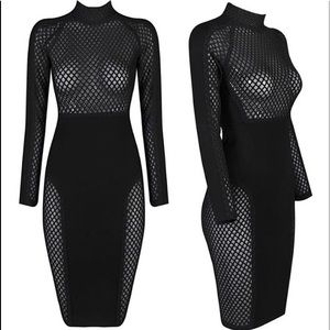 Sexy black mesh dress